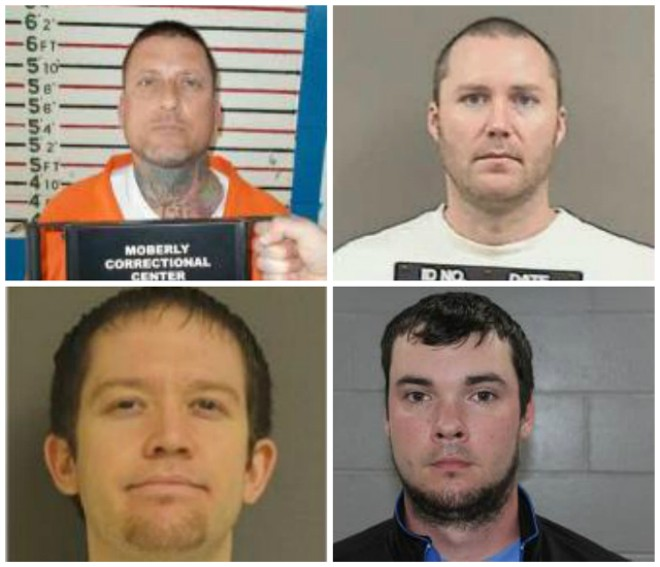 Clockwise from top left: Thomas Wilson, Thomas Tisher, Dustin Haney and Daniel Jerome face federal charges. - MISSOURI DOC/WARREN COUNTY