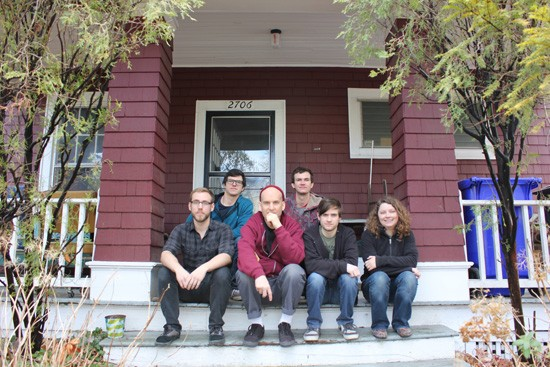 The crew with Ian Mackaye in front of Dischord House in Washington, D.C. - BRET HOY
