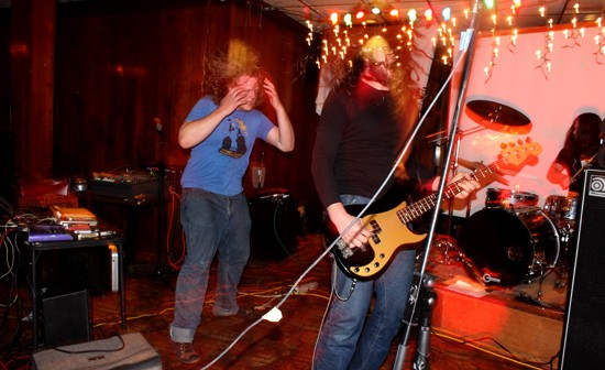 Bloody Knives sound-artist Jim Moon (left) and bass player Preston Maddox (right) swing their hair and spit gnarly Texan noise rock. - MABEL SUEN