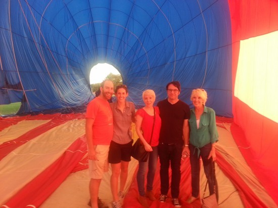 Wade Durbin, second from right, and his girlfriend's family in front of the balloon of terror. - COURTESY OF WADE DURBIN