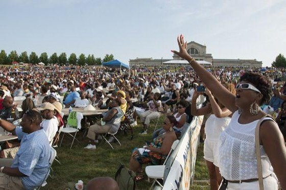 Fans at Kinfolks Soul Food Festival on Saturday -- before things got messy. - MICAH USHER FOR RIVERFRONT TIMES