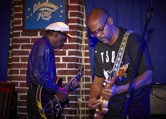 Apple and tree: Charles Berry Sr. and Jr. onstage at Blueberry Hill.