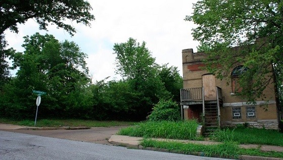 The empty lot to the left is all that remains of the Berry property on Labadie Avenue. - CHRIS NAFFZIGER