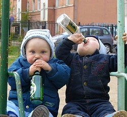 It's a metaphor: We do not advocate infant boozing.