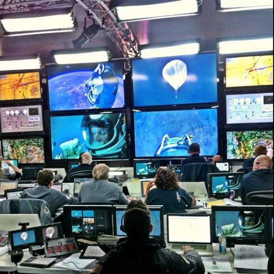 Mission Control watches Felix Baumgartner on monitors seconds before his jump. - JOERG MITTER FOR @REDBULLSTRATOS