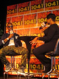 B.o.B. on the dais with Hot 104.1's Staci Static. - DIANA BENANTI