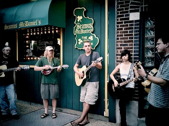 Some buskers outside of Dogtown's Seamus Mcdaniel's - IMAGE VIA