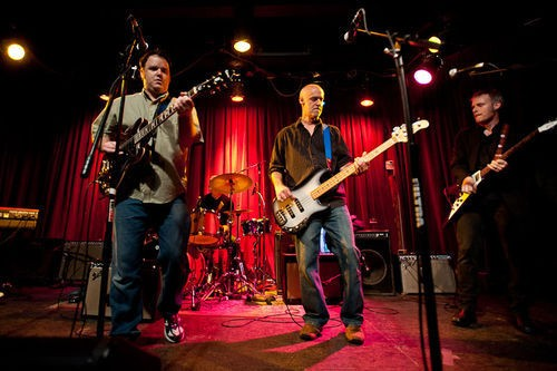 A smaller Karate Bikini lineup performing at Off Broadway -- the group's lineup on the new CD has expanded to eight members. - BEN MUDD