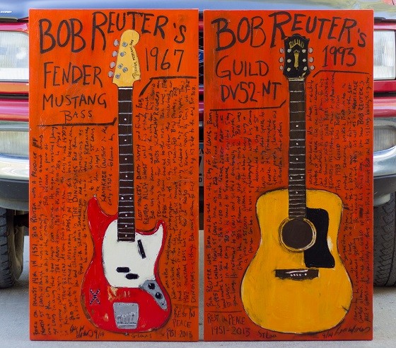 Karl Haglund's paintings of the late Bob Reuter's guitars. - COURTESY OF FUGITIVE ART