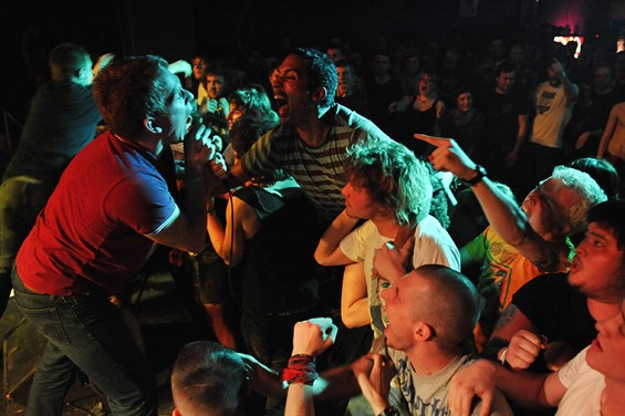 Martin Farkas of Career Suicide yells the words along with fans during the band's set on Saturday night at Fubar.