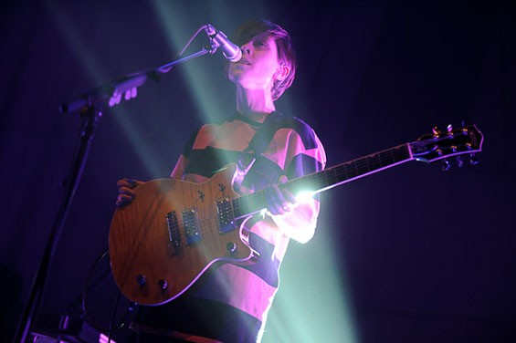 Sara of Tegan and Sara last night at the Pageant. See full slideshow here. - PHOTO: TODD OWYOUNG