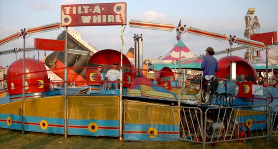 Carnival rides like this one are a staple of many community festivals.