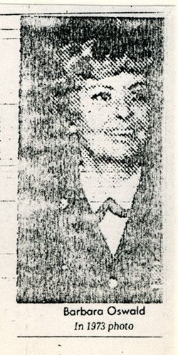 Barbara Oswald, shown here in a newspaper photo, reinvented herself in the military.