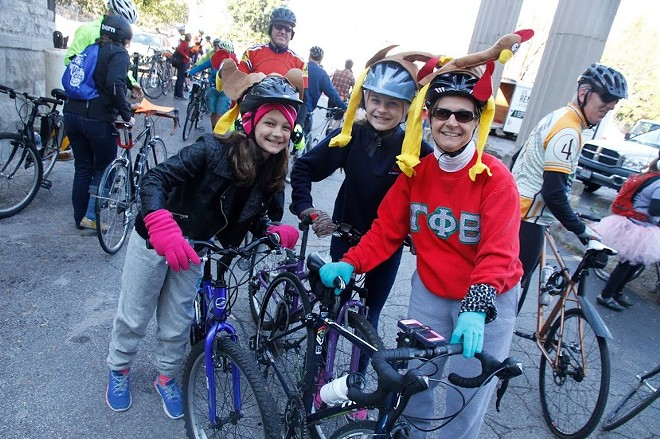 Combine cycling with some light grocery shopping and make someone's holiday season better. - COURTESY OF CRANKSGIVING