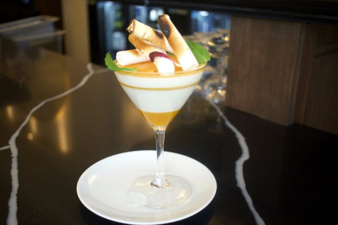 Coconut panna cotta is one of Grand Tavern's whimsical desserts. - CHERYL BAEHR