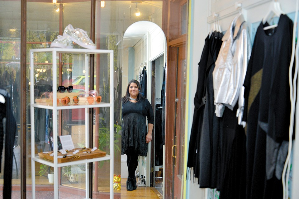 Lia Glynias knows the clothes she sells at LAUNCH are best experienced in the flesh. - TOM HELLAUER