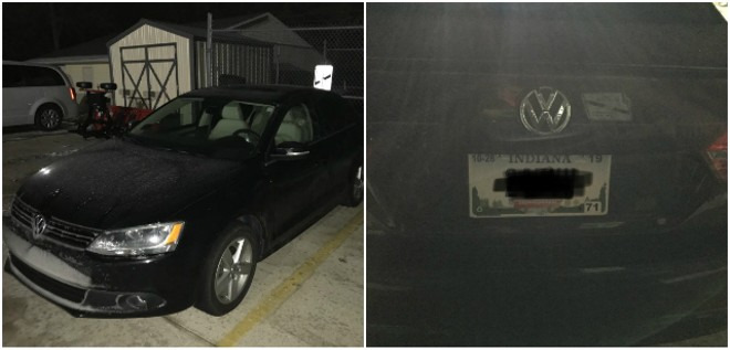 Raffaella Stroik's car after it was recovered by troopers. License plate photo blacked out by police. - COURTESY MSHP