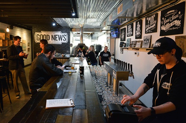 Good News Brewing has a minimalistic black and white motif tying the large room together. - TOM HELLAUER