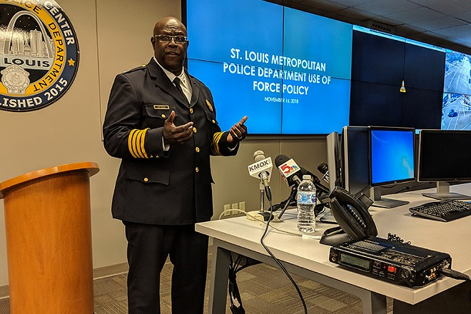 St. Louis police chief John Hayden at Friday's press conference. - DANNY WICENTOWSKI