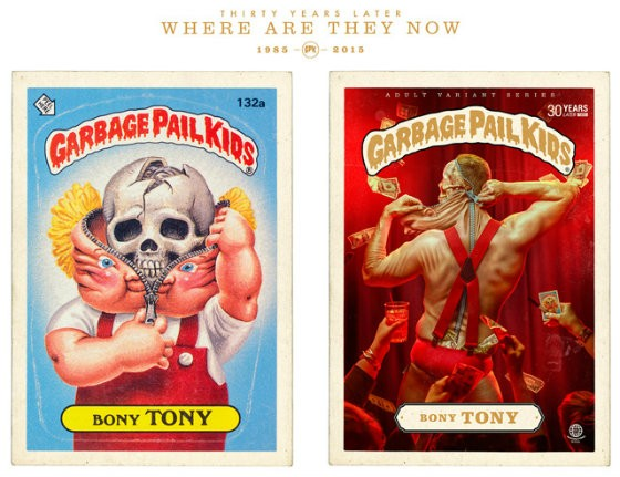 The original Bony Tony Garbage Pail Kid card next to Tony Bony 30 years later. - BRANDON VOGES/BRUTON STROUBE