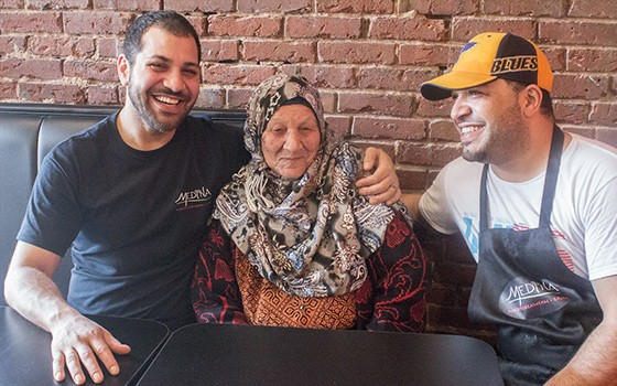 Owner Ibrahim Ead (left) and manager Arafat Ead (right) with their grandmother.