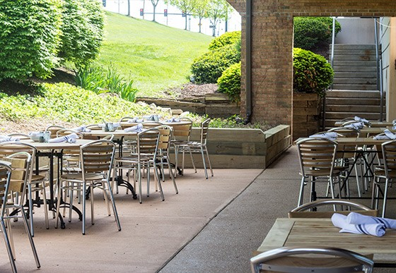 The brand-new patio.