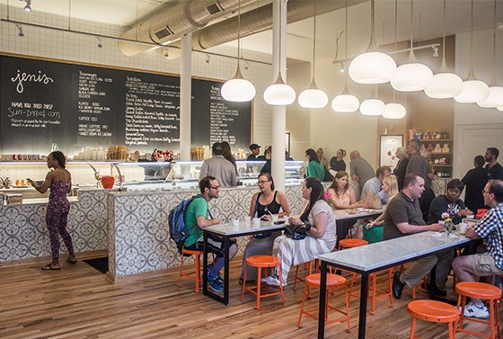 The dining room at the scoop shop features plenty of space to sit and enjoy sweet treats.
