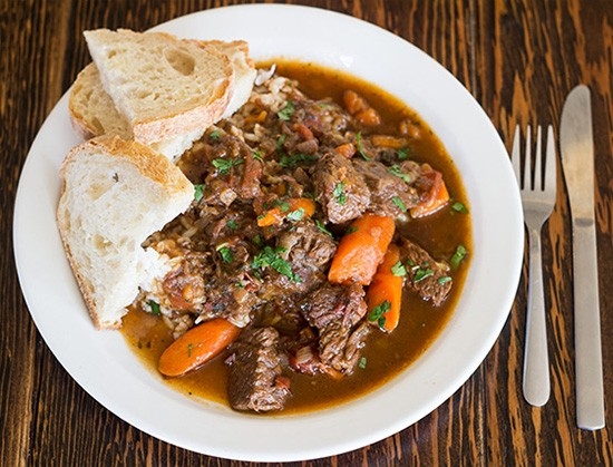 Beef stew special with rice and Red Fox Baking bread.