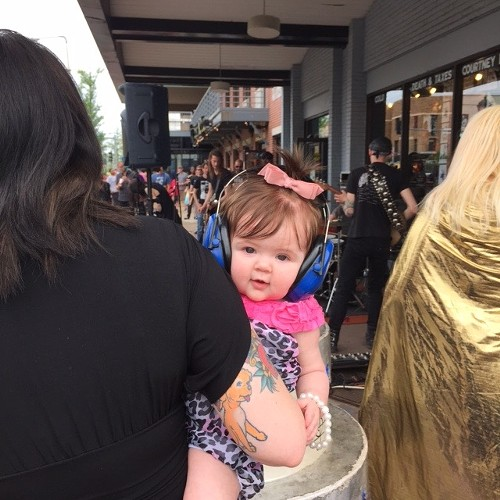 A future shopper (or possibly employee) outside Vintage Vinyl on Record Store Day 2015 - JAIME LEES