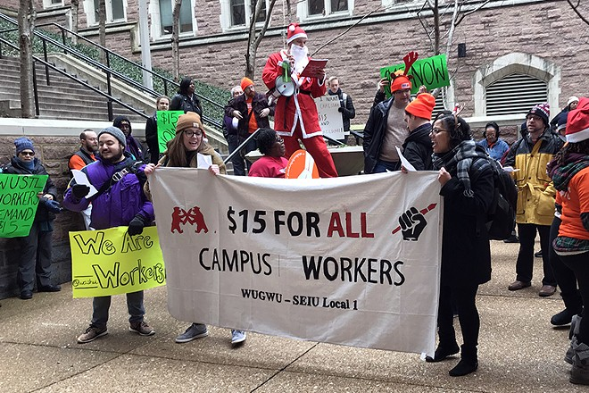 Protesters want Washington University to raise wages and provide childcare for workers. - DUSTIN STEINHOFF