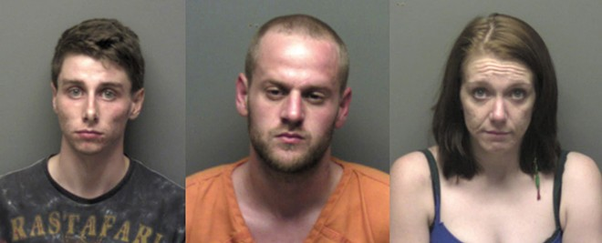 After Ken Allen's death, police arrested (from left) Blake Schindler, Timothy Wonish and Whitney Robins. In October, Wonish and Robins pleaded guilty to involuntary manslaughter. - FRANKLIN COUNTY'S SHERIFF'S OFFICE