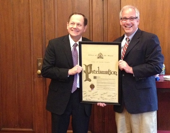 Mayor Francis Slay with Eddie Roth, Slay's director of operations who helped craft the proposal. - COURTESY OF MAGGIE CRANE