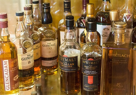 A look at a portion of Truong's scotch collection.