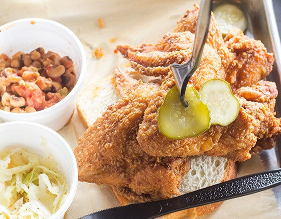 The hot chicken plates at Southern come in four different styles, including the one pictured here: General Tso's. | Photos by Mabel Suen