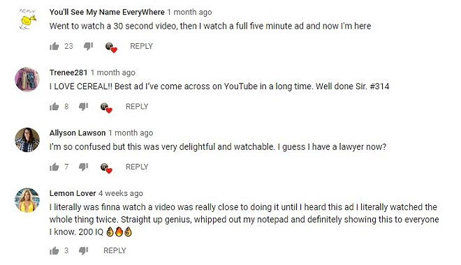 As far as YouTube comment sections go, this is as good as it gets. - VIA YOUTUBE