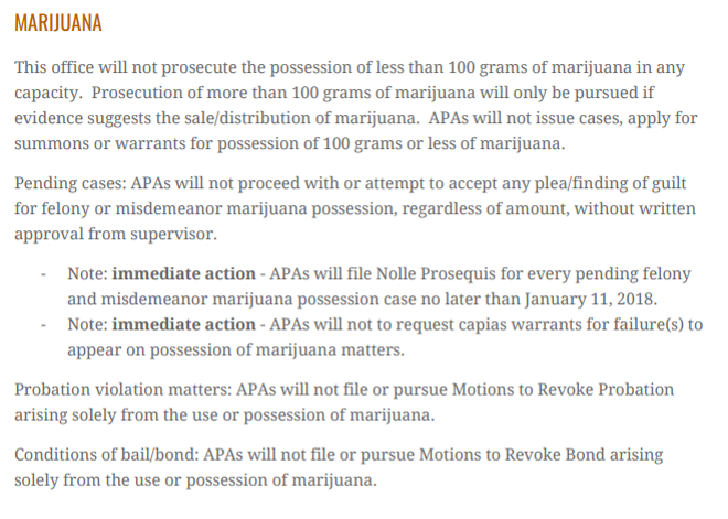 The leaked Bell memo's section on marijuana policy. - VIA POST-DISPATCH