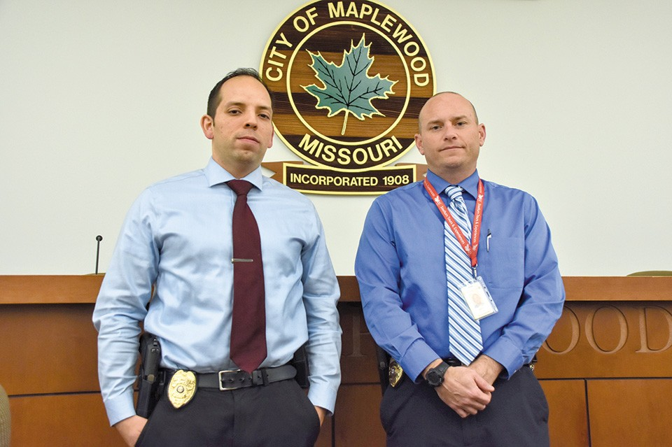 Maplewood Detective David Brown, left, and Lt. John LeClerc investigated the case with the help of a DEA task force. - DOYLE MURPHY