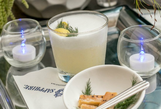 The Norwegian Abroad includes Bombay sapphire, lemon juice, fennel, caraway, sauerkraut juice, champagne and egg whites. - PHOTO COURTESY OF BOMBAY SAPPHIRE GIN