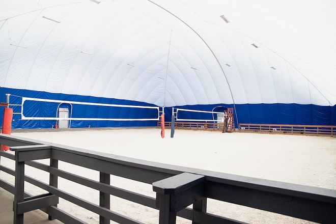 Volleybeach Beach 365 opened last week at the Kingpin Lanes complex. - COURTESY OF ARIZON BUILDING SYSTEMS