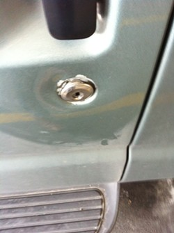 The popped lock on Two Cow Garage's van. - DAVID MURPHY