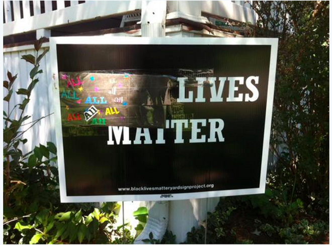 "Sue Dersch's ""Black Lives Matter"" sign was defaced last Tuesday. But that was only the beginning."