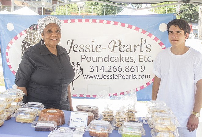 Jessie-Pearl Hairston with her grandson Seth Hairston at the monthly Producers' Market on South Grand.
