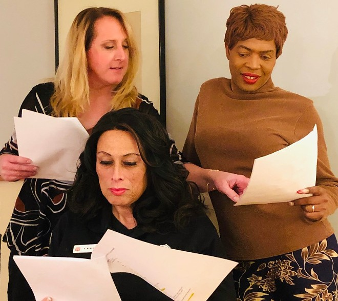 """From left, Christa Lou Cunningham, Miss Leon aka Dieta Pepsi and India Reed rehearse """"They Beat The Girl Out Of My Boy . . . Or So They Tried,"""" a piece written for five trans women in The Vagina Monologues. - JOAN LIPKIN"""