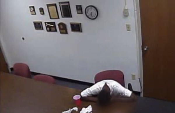 A screengrab from the recording of Trevon Yates' two-hour interrogation.