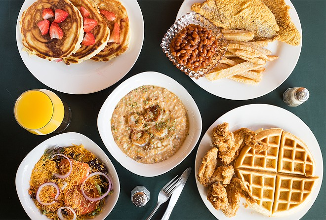 Southern-inflected favorites at the River Lillie include strawberry pancakes, catfish fillets, chicken and waffles and shrimp and grits. - MABEL SUEN