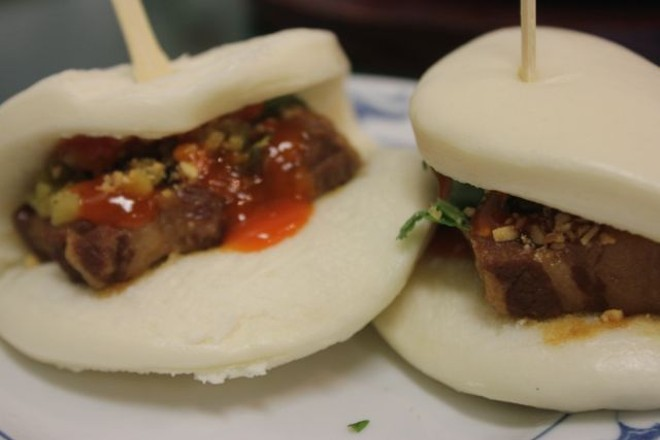 Pork belly buns come two for $5.99. - PHOTO BY SARAH FENSKE