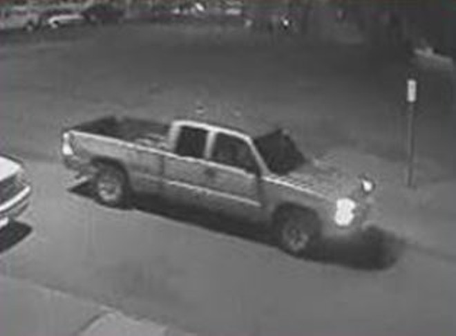 This tan or gold Chevy Silverado is believed to be tied to a double homicide in North St. Louis, police say. - IMAGE VIA ST. LOUIS METRO POLICE