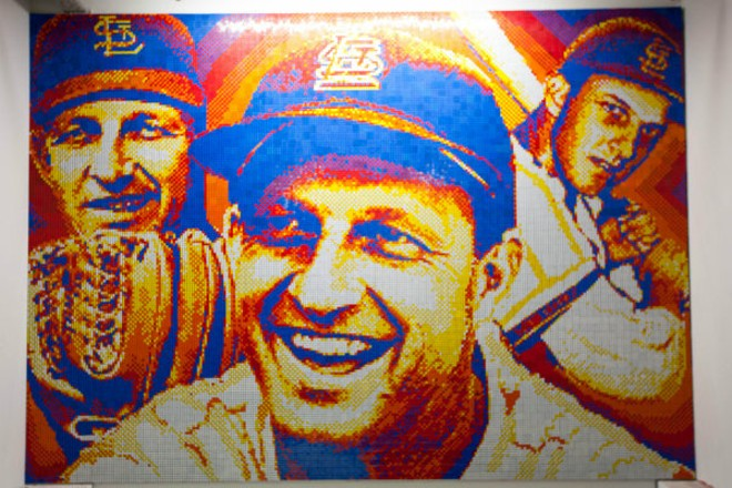Here's a closeup of the mural itself — it utilizes 5,980 Rubik's cubes, which Wright paid for by selling his artwork. - PHOTO COURTESY OF THE CARDINALS