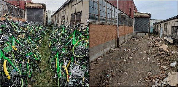 Lime's Dogtown warehouse, photographed October 25, 2018 (left) and February 13, 2019 (right.) - DANNY WICENTOWSKI