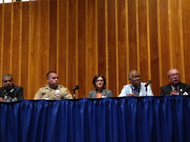 We can't turn away from the mentally ill, panelists say. From left: Places for People Executive Director Joe Yancey, St. Louis County Police Officer Chris Koester, Ashlyn Brewer of St. Louis Social Media Club, Dr. Collins Lewis and Sen. Joe Keaveny. - DOYLE MURPHY